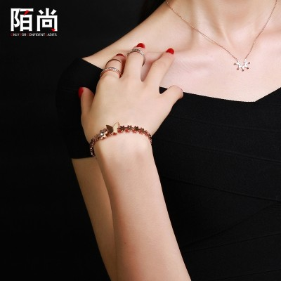 Korean 18K rose gold plating titanium bracelet flower butterfly drill single female Korean Daisy jewelry