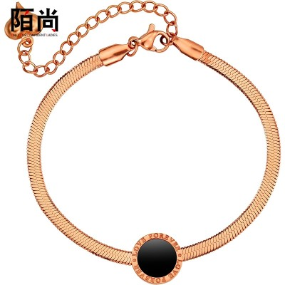 And the wind are plated 18K rose gold bracelet round black female rough titanium jewelry color chain