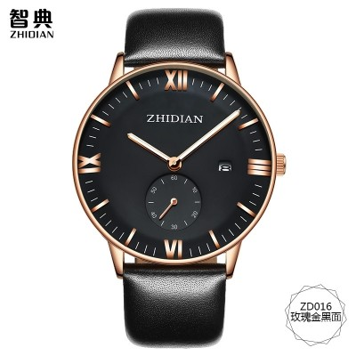 ZhiDian counters men watch men's watch waterproof leisure fashion wrist watch students really belt quartz movement