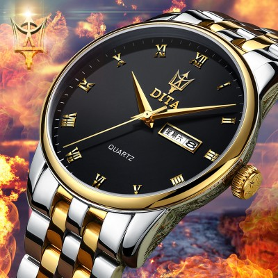 Waterproof watch men's watch fashion leisure leather fine steel belt ultra-thin army men wrist students quartz watch