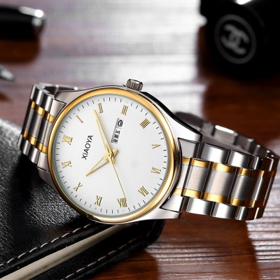 Xiaoya Thin steel strip quartz watch luminous calendar watch men fashion students simple men's watch