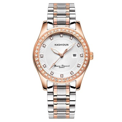 Card poem, steel and women watch lady wrist watch diamond luminous waterproof quartz watch fashionable retro watch women