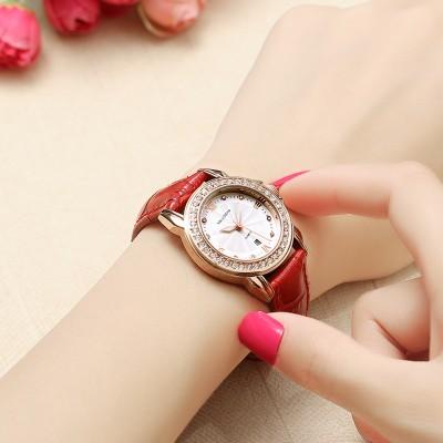 Kaluosha Ms true belt watch female table Student han edition noctilucent ultra-thin diamond fashion Quartz watch