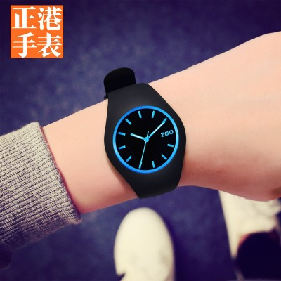 Zgo Authentic watches han edition contracted tide high school female students male noctilucent waterproof adolescent girls silica quartz watch