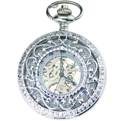 Secret garden automatic machine core mechanical pocket watch Classic flap clamshell insert transparent hollow out of carve patterns or designs on woodwork restoring ancient ways
