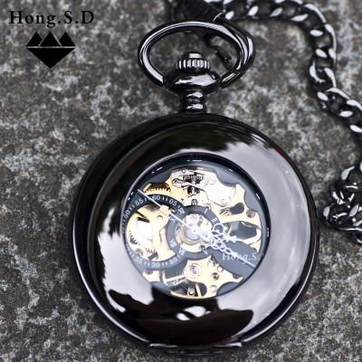 Smooth automatic mechanical watch pocket watch beetles retro classic clamshell insert hollow-out alloy gifts for men and women students