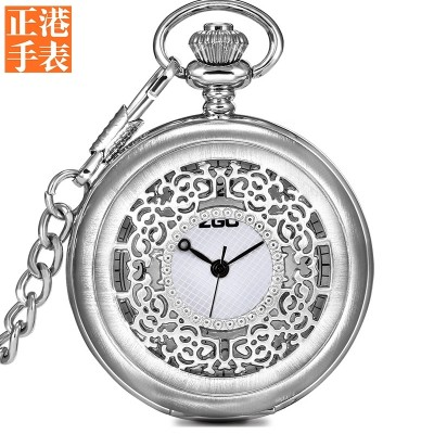 Creative bronze Roman contracted clamshell man old small pocket watch Japanese quartz female retro contracted necklace