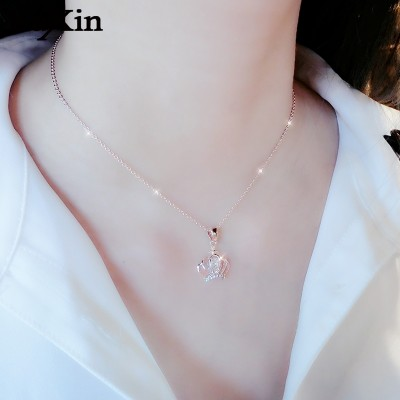Sue contracted heart swan female clavicle necklace chain accessories temperament necklace pendant rose gold brief paragraph, Japan and South Korea