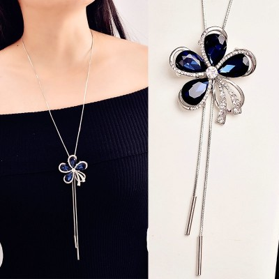 Compose love to sweater chain long female south Korean qiu dong joker necklace pendant accessories in Europe and America to restore ancient ways petals