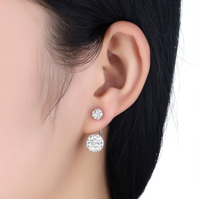 F wing with diamond stud earrings female sweet temperament of allergy free earrings earrings S925 silver needle, Japan and South Korea contracted and collars