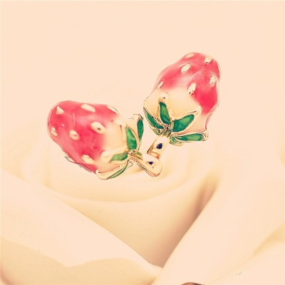 Compose a cute little strawberry Stud earrings fashion earrings Long colored glaze pendant earrings South Korean accessories female personality