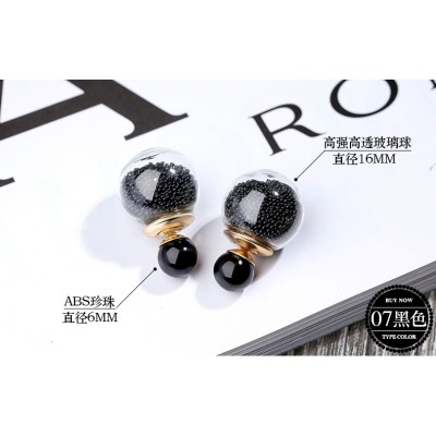 Double stud earrings female temperament fashion, before and after South Korea eardrop sand ball type ear ring earrings earrings