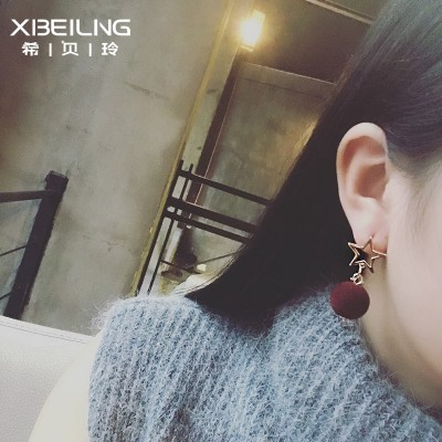 Japan and South Korea the new geometry hollow metal pentagram plush ball pendant earrings contracted earrings with Europe and the United States temperament act the role ofing is tasted