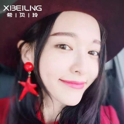 Bush benefit south Korean fashion new personality exaggerated temperament melting pentagram star earrings joker