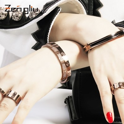 Eternal love screw ring couple bracelet 18 k rose gold plated female male Korean jewelry bracelets, titanium steel