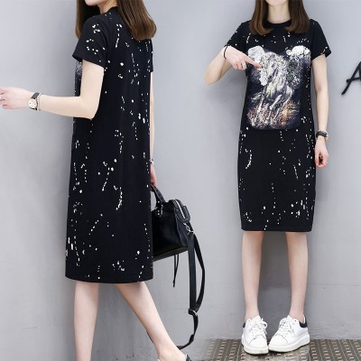 summer new Korean fashion Womens Black Short Sleeved T-shirt dress tide girls long skirt