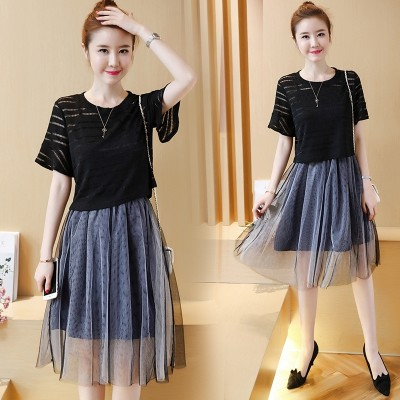 In the summer of  new women's dress code mm fat thin gauze dress fashion two piece suit skirt