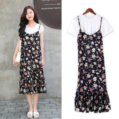 Dress female  short sleeved summer suits small Suihua flounced chiffon long paragraph two dress