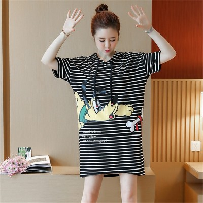 YEZKI summer  new Korean women slim stripe hooded loose T-shirt dress female size