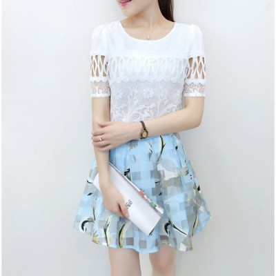 Summer  new Korean slim ladies temperament summer chiffon dress two suit dress small fresh