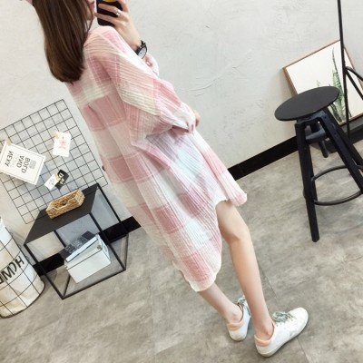 summer new Korean girls long sleeved shirt Plaid sunscreen clothing sunscreen shirt shirt fan Han Students