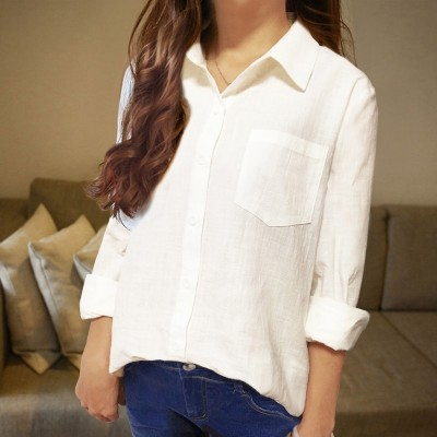 Cotton White Chiffon shirt all  new long sleeved short sleeved loose in the long coat shirt.