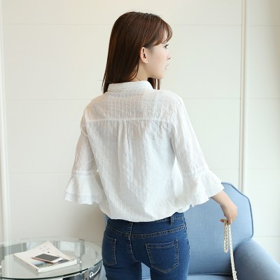 summer new trumpet sleeve white shirt sleeve seven female Korean loose stitching small fresh V collar shirt