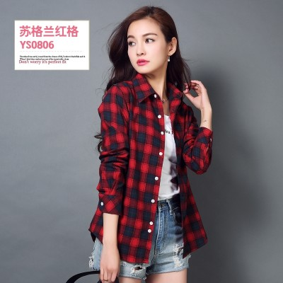 Cotton long sleeved Plaid Shirt female Korean spring leisure self-cultivation shirt size student shirt coat sanding