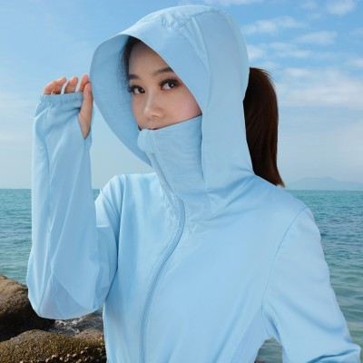 The  new summer sun protection clothing in the long beach wear long sleeved Korean anti UV all-match thin coat