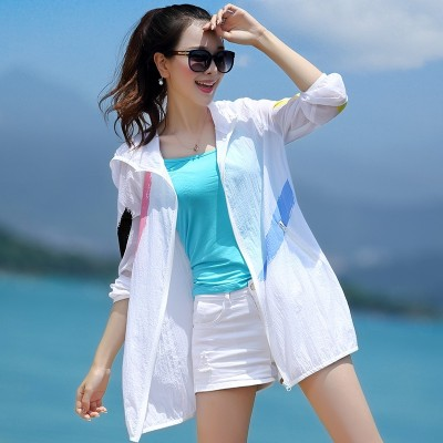 Sun clothing lady  summer new Korean version, long sunscreen clothes big yards, white beach loose casual coat