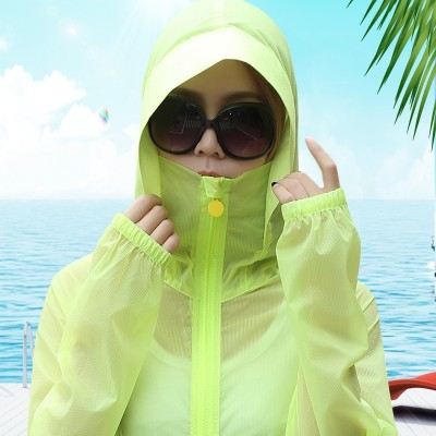 new summer sun protection clothing female loose all-match thin breathable Korean Short Hooded Jacket beach wear sweater