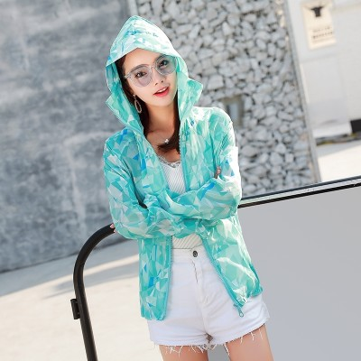 Sunscreen clothing thin jacket hooded outdoor sunscreen clothing female  summer new women's beach wear masks