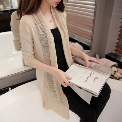 Thin long cardigan sweater sweater coat shawl hollowed out female air conditioning sunscreen clothing summer women's new