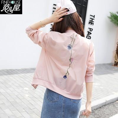 Sun jacket, baseball dress, female spring, summer Korean version, short coat, woman's thin blouse, long sleeve embroidery jacket, female tide