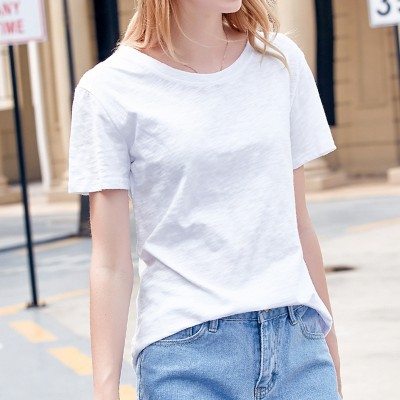 Pure bamboo cotton t-shirt female summer new  Korean women T-shirt all-match loose short sleeved white shirt