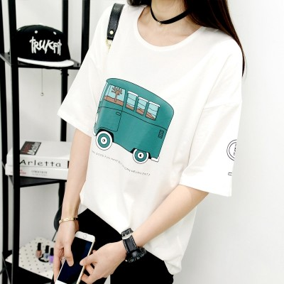 Summer simple T-shirt, women's loose T-shirt, female short sleeve, Han Fan cartoon T-shirt, bottoming shirt, blouse, Korean version of women's clothing