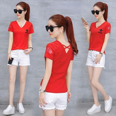 Female T-shirt bottoming shirt collar V short sleeved summer  new women's clothes summer stripe gauze Strapless.