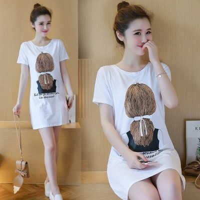 Summer clothes girls long short sleeved T-shirt dress  new spring coat loose all-match Korean Students