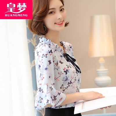 summer new female short sleeved chiffon shirt tie loose sweet floral shirt printing backing small shirt coat