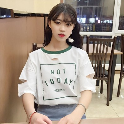 The new summer t-shirt female hole short sleeved shirt Korean tide Harajuku BF wind half sleeve clothes loose all-match students