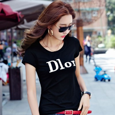 White cotton t-shirt female short sleeved summer new Korean slim slim Monogrammed shirt blouse