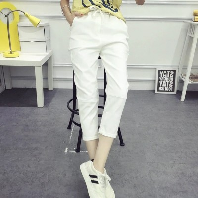 Summer new feet nine pants female loose thin cotton casual trousers elastic waist tie Haren pants