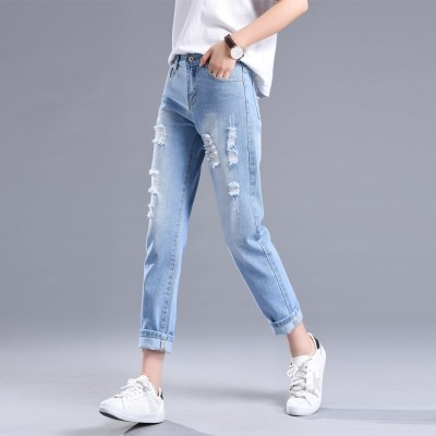 Spring and summer thin section BF wind light hole jeans female Korean waist loose slim pants nine Haren pants