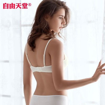 Silk strapless bra steel ring bra thin girl cotton underwear small chest thin silk seamless bra cup summer female