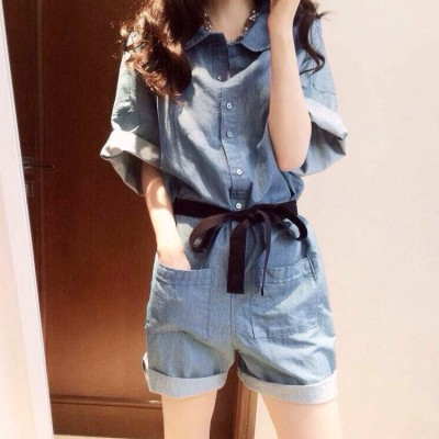 spring summer new female Korean students loose Jumpsuit waisted wide leg pants pants casual jeans