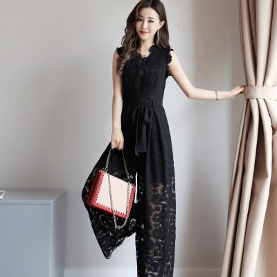 Siamese pants female  summer new temperament V thin waist collar lace openwork Jumpsuit wide leg pants trousers tide