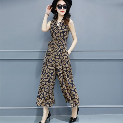 Siamese wide leg culottes thin summer  new women's fashionable temperament floral Jumpsuit Leotard