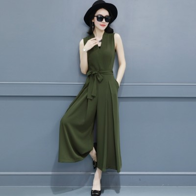 Wide leg culottes new summer  fashion conjoined thin waist Korean V Jumpsuit Jumpsuit dress collar