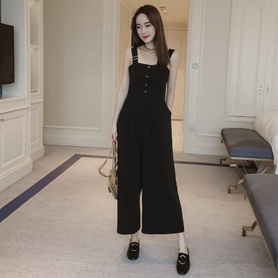 The summer of  Korean nine female Siamese pants bra straps sling Jumpsuit casual pants loose wide leg pants, wind