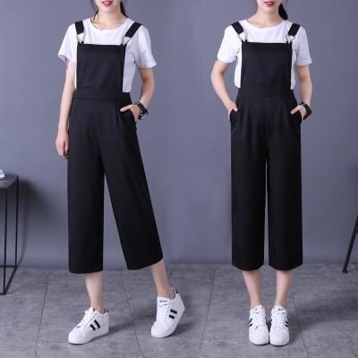 Suspenders, pants, women, summer,  new nine, pants, broad legs, conjoined pants, Korean version of suspenders, underwear, loose casual pants, tide